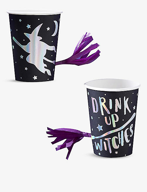 HALLOWEEN: Drink Up Witches foiled paper party cups with tassels set of 8