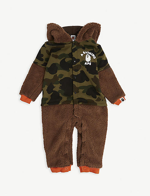 A BATHING APE: Logo-print fluffy baby grow 6-18 months