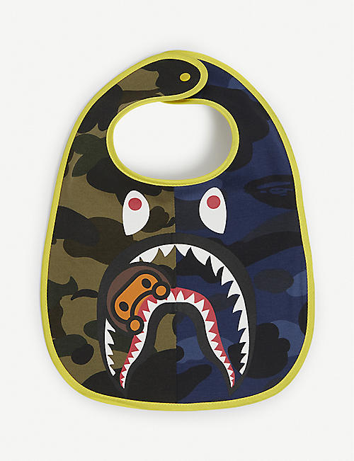 A BATHING APE: Logo-print camouflage cotton bib