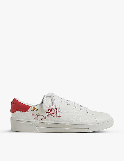 TED BAKER: Rhubarb floral-print leather trainers