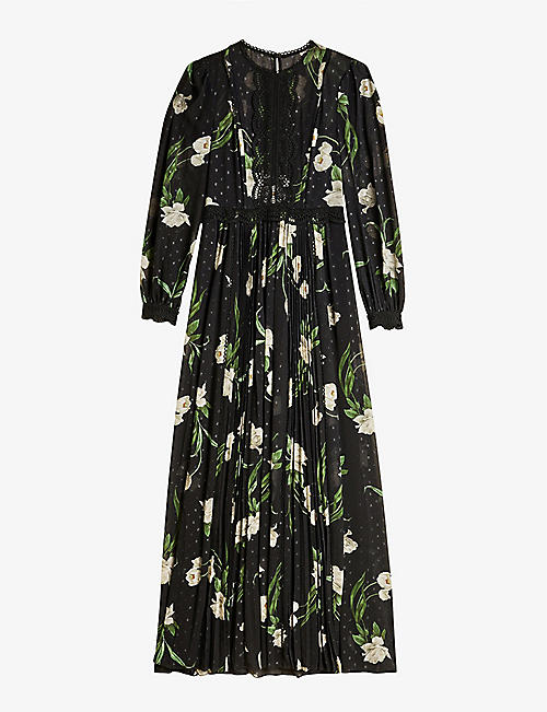 TED BAKER: Deenha Elderflower-print lace-trimmed crepe maxi dress