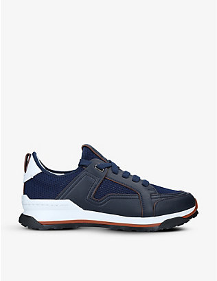 ERMENEGILDO ZEGNA: Siracusa leather and mesh low-top trainers