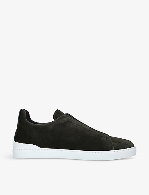 ERMENEGILDO ZEGNA: Triple Stitch suede low-top trainers