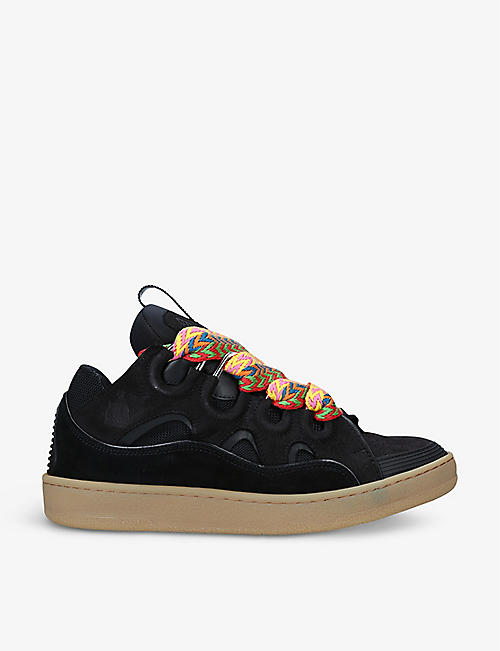 LANVIN: Curb leather, suede and mesh low-top trainers