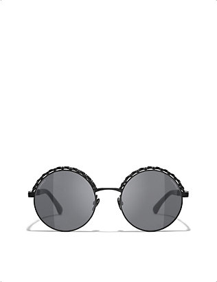 CHANEL: CH4265Q chain-embellished round-frame metal sunglasses