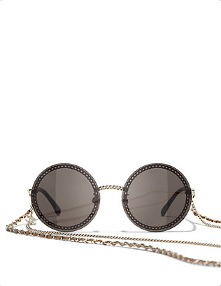 CHANEL: CH4245 chain-embellished round-frame acetate sunglasses