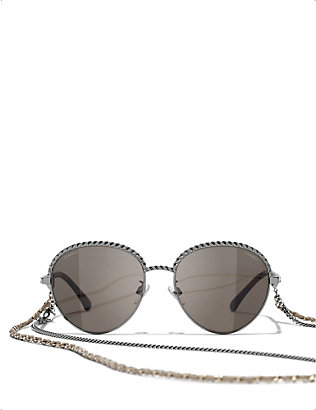 CHANEL: CH4242 chain-embellished round-frame metal sunglasses