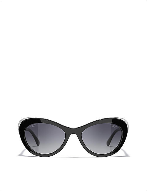 CHANEL: CH5432 54 Tweed acetate cat's-eye sunglasses