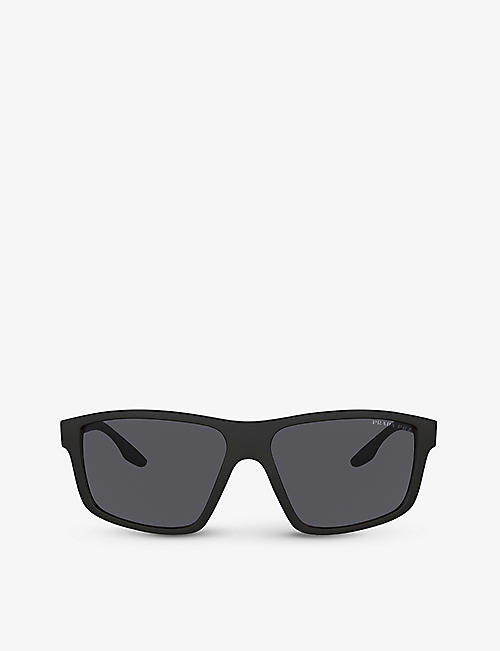 PRADA LINEA ROSSA: PS 02XS 60 square-frame acetate sunglasses
