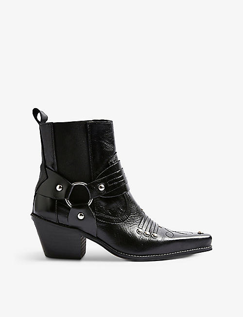 TOPSHOP: Mexico Western leather ankle boots