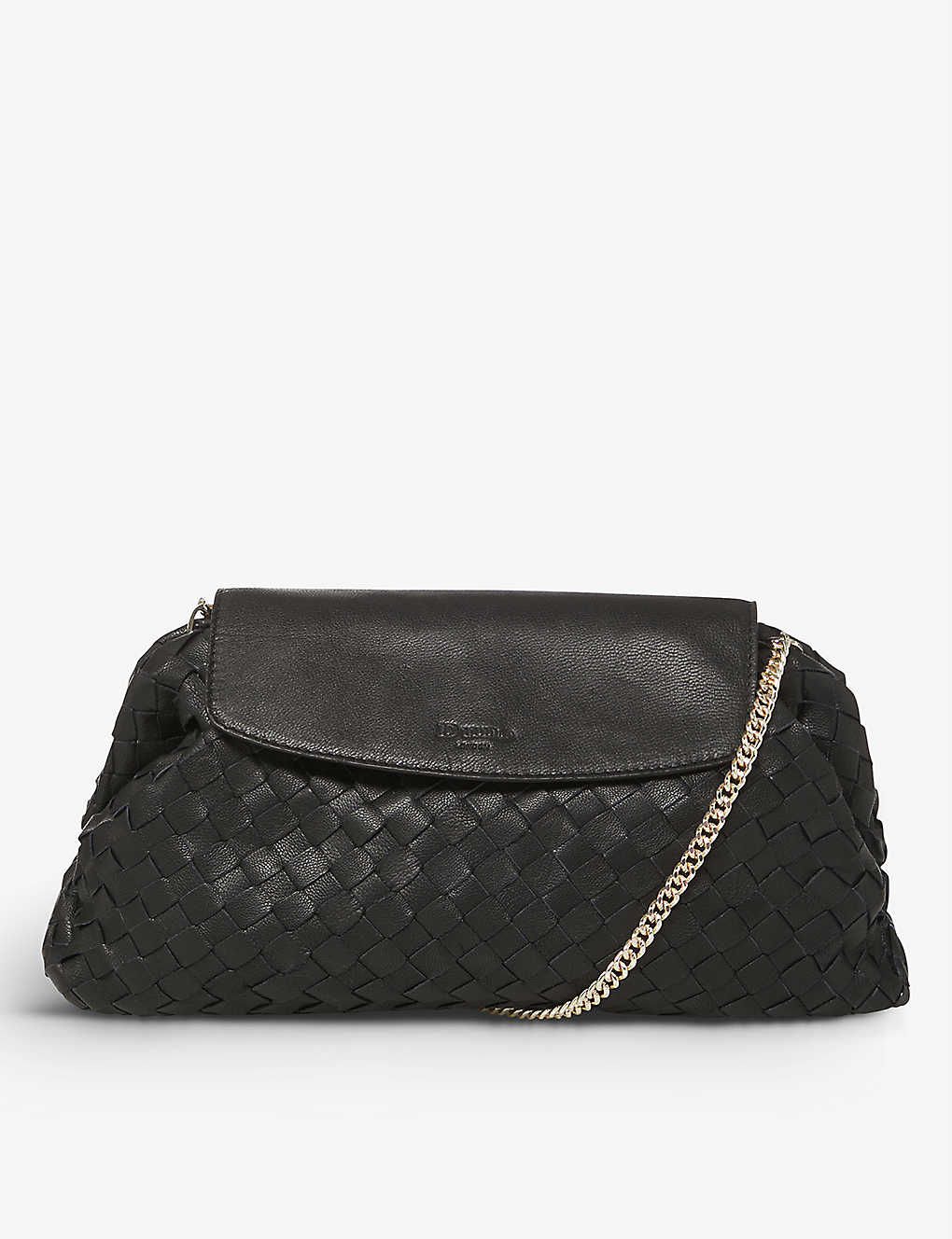 DUNE: Emoree voluminous woven leather clutch bag