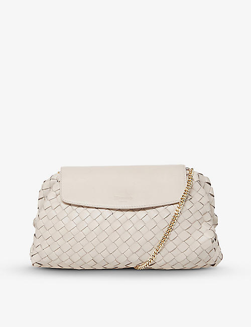 DUNE: Emoree woven leather clutch bag