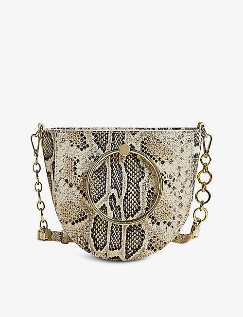 TED BAKER: Nitza snake-embossed leather crossbody bag