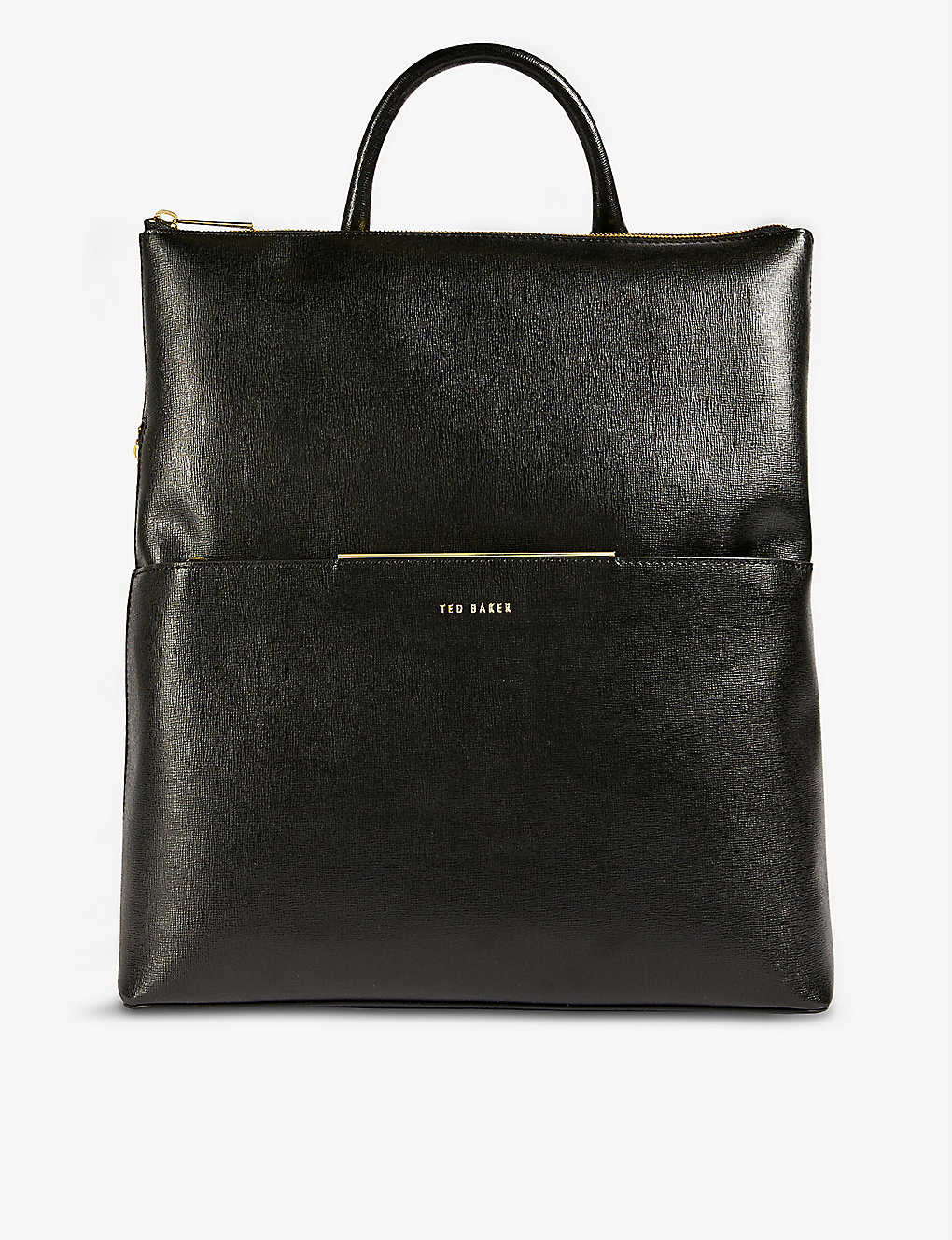 TED BAKER: Kryshia branded Saffiano leather backpack