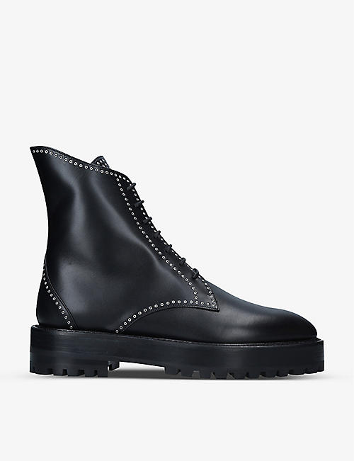 AZZEDINE ALAIA: Eyelet-embellished leather boots