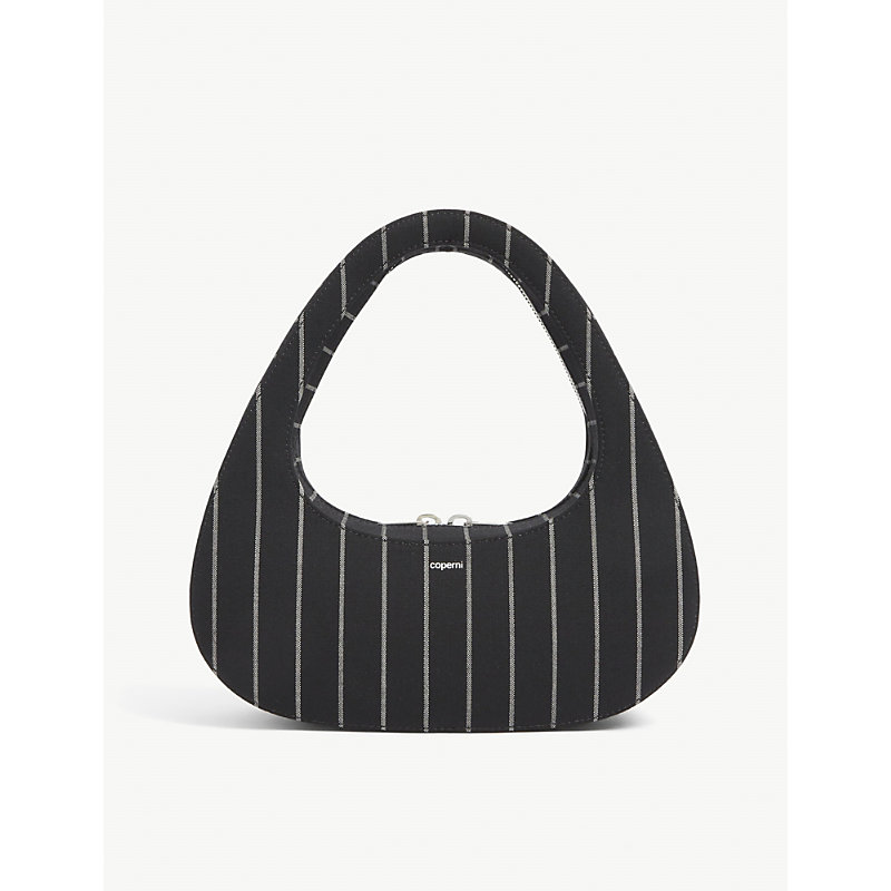 Coperni SWIPE PINSTRIPED WOOL BAGUETTE BAG