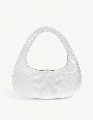 COPERNI: Swipe snakeskin-embossed leather baguette bag
