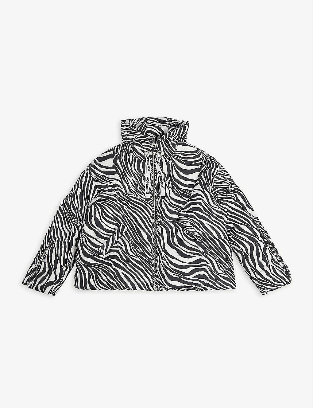 KHRISJOY: Zebra-print shell puffer coat 8-14 years