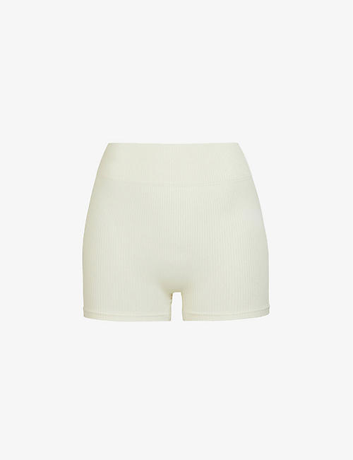 SKIMS: Ribbed stretch-woven shorts