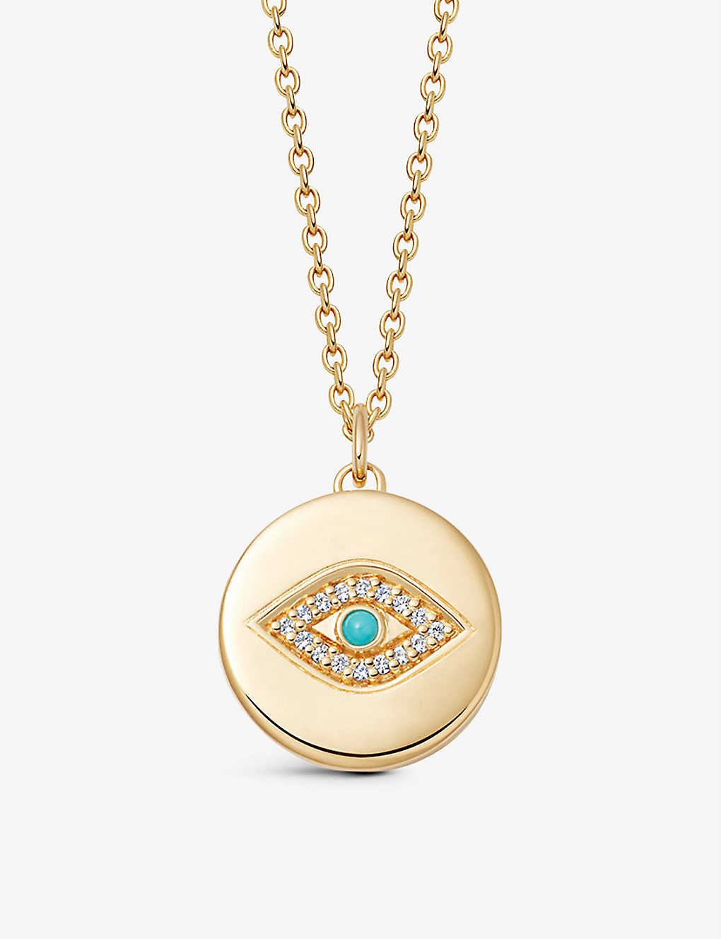 ASTLEY CLARKE: Biography Evil Eye Locket 18ct gold-plated vermeil sterling silver, white sapphire and turquoise necklace
