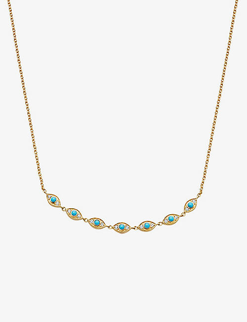 ASTLEY CLARKE: Biography Evil Eye Detail 18ct gold-plated vermeil sterling silver, white sapphire and turquoise necklace