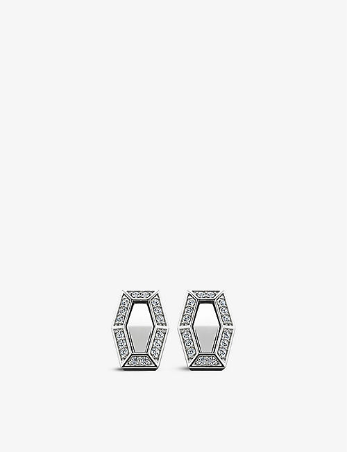 VASHI: Connections 18k white-gold and 0.22ct diamond halo earrings