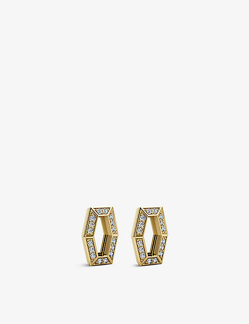 VASHI: Connections 18k yellow-gold and diamond halo earrings