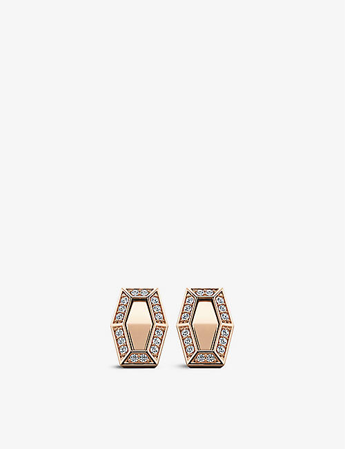 VASHI: Connections 18k rose-gold and diamond halo earrings