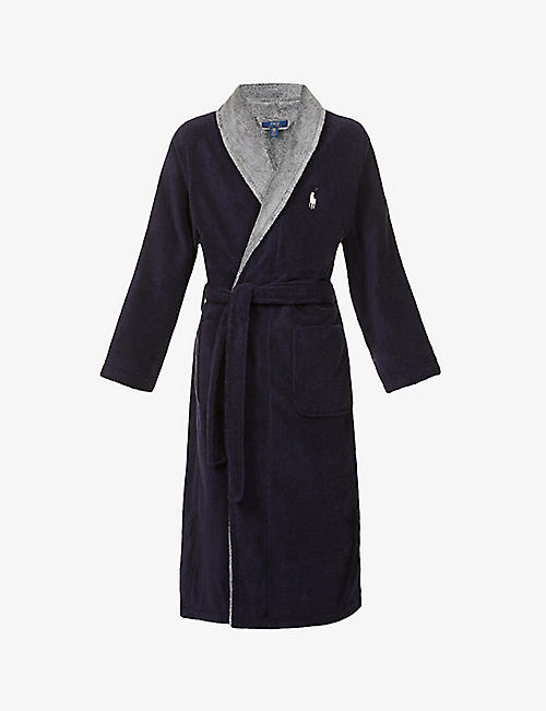 POLO RALPH LAUREN: Logo-embroidered cotton towelling robe