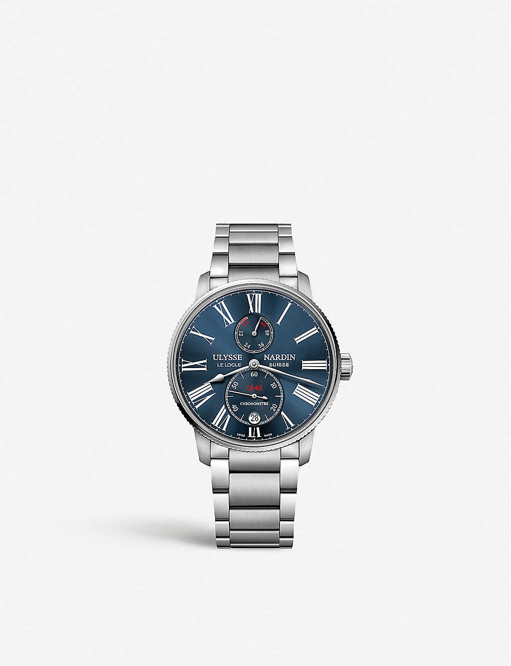 ULYSSE NARDIN: Marine Torpilleur stainless steel and leather watch