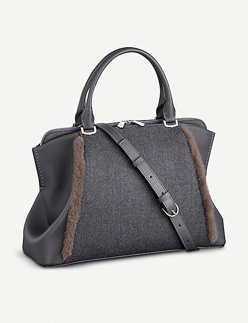 CARTIER: C de Cartier shearling-trimmed leather tote