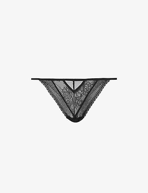 PASSIONATA: Sukeban high-rise stretch-lace tanga briefs