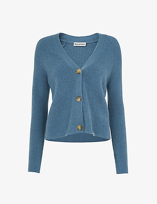 WHISTLES: Ribbed cotton-blend cardigan
