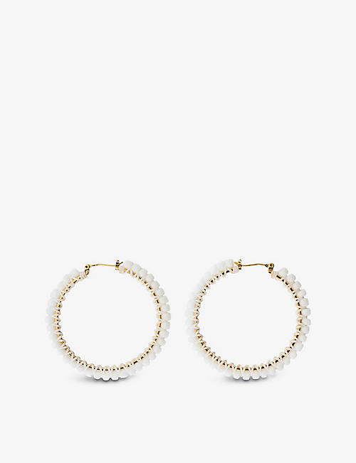 MAJE: Beaded gold-tone hoop earrings