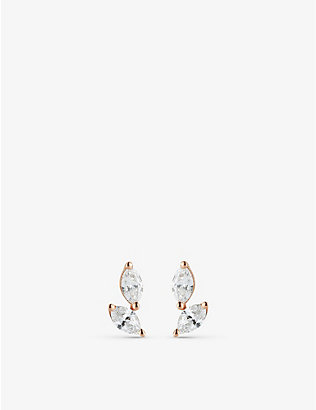 THE ALKEMISTRY: Dana Rebecca Alexa Jordyn Marquise Diamond Drift 14ct rose-gold and diamond earrings