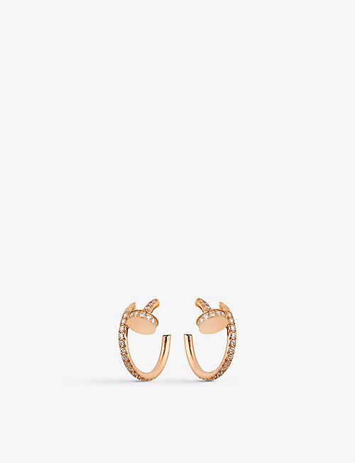 CARTIER: Juste un Clou 18ct rose-gold and 0.51ct brilliant-cut earrings