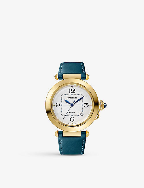 CARTIER: Pasha de Cartier 18ct yellow-gold, sapphire and leather interchangeable strap automatic watch