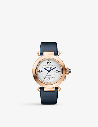 CARTIER: Pasha de Cartier 18ct rose-gold, sapphire and leather interchangeable strap automatic watch