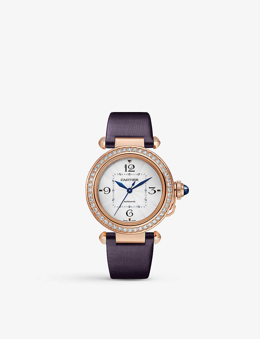 CARTIER: Pasha de Cartier 18ct rose-gold, diamond, sapphire and leather interchangeable strap automatic watch