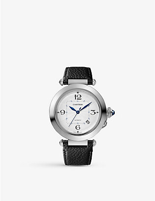CARTIER: WSPA0014 Pasha stainless steel and leather watch