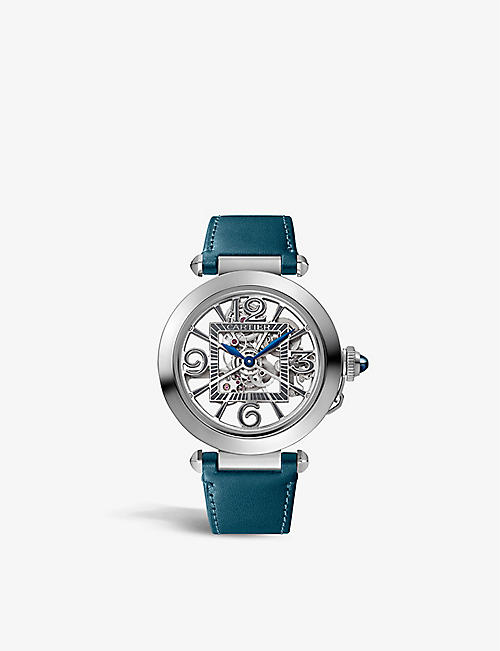 CARTIER: CRWHPA0009 Pasha de Cartier stainless-steel, sapphire and leather interchangeable strap automatic watch
