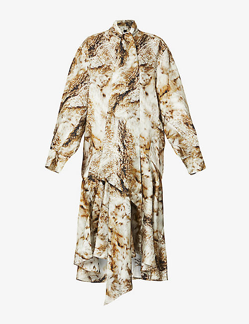 PETAR PETROV: Anrea fox-print silk-twill maxi dress