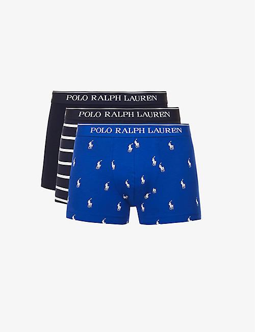POLO RALPH LAUREN: Pack of three logo-print stretch-cotton trunks