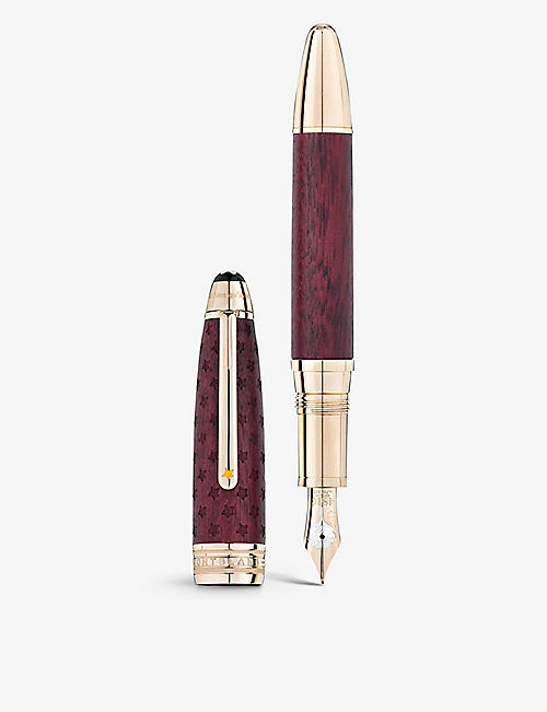 MONTBLANC: Meisterstück Le Petit Prince Solitaire LeGrand wood and 18ct gold-coated fountain pen