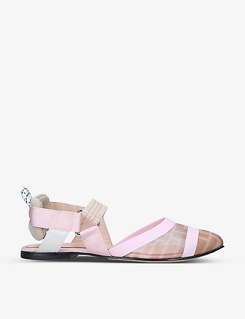 FENDI: Colibri monogram-print point-toe shoes 7-9 years