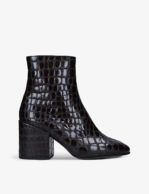 DRIES VAN NOTEN: Chloe croc-embossed leather ankle boots