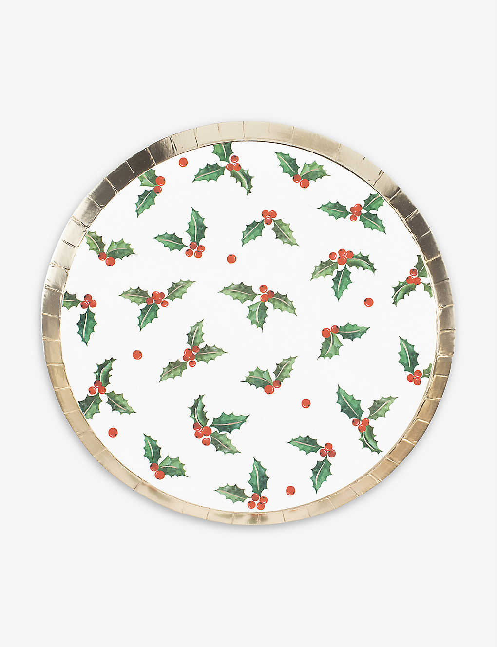GINGER RAY: Holly Leaf Christmas paper plates pack of eight