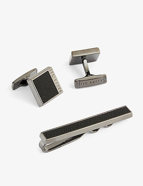 TED BAKER: Leather-embossed cufflink and tie bar set