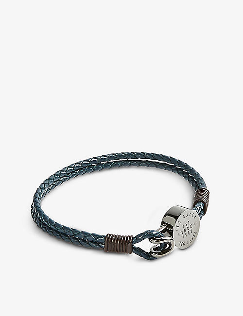 TED BAKER: Logo-embossed leather woven bracelet