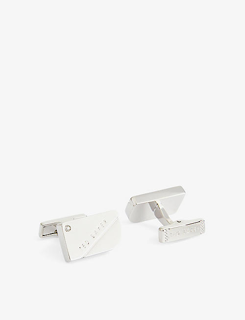 TED BAKER: Corner cubic zirconia and brass cufflinks